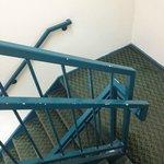 peeling paint in stairwell