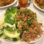 Chicken Larb!! Oh so good, the hotter the better it taste!!
