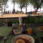 delicious breakfast beside the beach