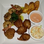 Jamaican pepper shrimp & bajan fish cakes