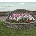 attractive floral garden in front of B&B private beach