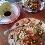 Lettuce wrap appetizer and noodle dish.