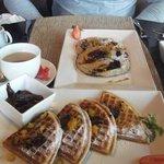 Enjoying waffles and pan cakes