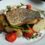 Sea Bass with New Potatoes, Green Beans, Cherry Tomatoes and Egg