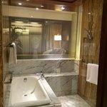 Smart glass bathroom screen