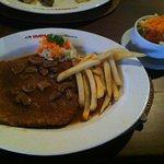 Pork escalope with salad