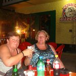 Me and my sister enjoying a drink in the evening heat outside the British Bulldog
