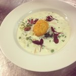 Soup of the day smoked haddock chowder crisp egg