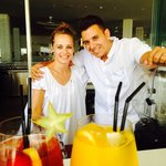 Alex & Carmen at the pool bar. Thank you for your excellent serviceu