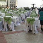 Tables laid out for dinner