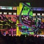 Snake and ladder light projections on MCA building. Vivid Sydney 2014.