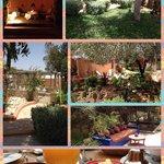 Le jardins, le patio et le petit déjeuner