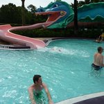 Slide in the pool area