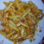 Very delicious Penne alla vodka with chicken