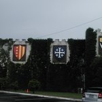 Some of the knights banners outside on the castle wall
