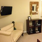 Wallmount TV, Sofa, Wineglasses, Cups, Coffee/Teabags all available