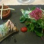 Croustillant au somon et foie gras frais