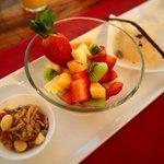 Day 1 Breakfast Fruits, Granola and Yoghurt