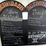 Sample daily activities posted in the dining area