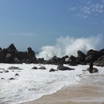 pacific waves hit the rocks