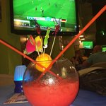 Fishbowl and footy at Picasso.