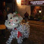Confucious Dragon outside of restaurant at New Year