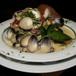 Fresh locally harvested clams in a white wine cream sauce
