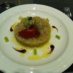 Entrée : tartare de dorade au fenouille et tomates confites