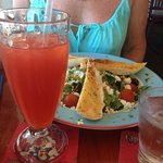 A delightful salad and cold rum punch.