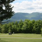 View of the 7th fairway, pool and Catskill Mountains from the Grimstad