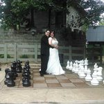 One of our wedding photos- the Oversized chess board