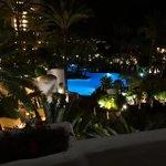 Avond foto van zwembad en tuin.