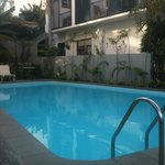 Pool with rooms overlooking