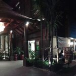 nightime view of the front of the hotel