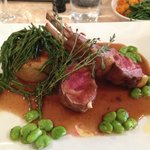 Highland Lamb Rack on a garlic & rosemary potato fondant with samphire, broad beans & red wine j