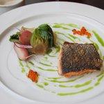 Butter Seared Wild Scottish Salmon, Buttermilk with Horseradish, Keta Caviar, Pak Choi, Fennel,