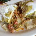 Burrito with pork.  Fully cooked all the way through.  Meat was very flavorful.
