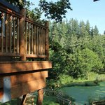 The outside deck overlooking pond