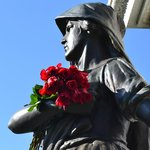 May Day flowers at the Haymarket monument