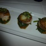 Scallops wrapped with Nueske's bacon