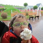 Enjoying a soggy ice-cream