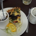 quiche florentine with fruit cup