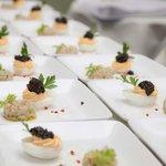 Osietra Royal Kaviar auf Eigelb-Parmesancreme & Osietra Kaviar  auf Schwertfisch Carpaccio