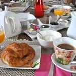 Breakfast - croissants, juice, yoghurt, coffee etc. etc.