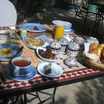 Breakfast in the garden - loved the sweet potato jam!