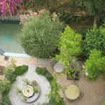 A view from the second floor looking into breakfast garden