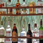 Alcohol rack at the bar