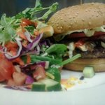 Cow Classic Burger Deluxe with a Green Salad