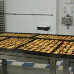 Egg tarts in the factory