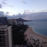 Morning view of Diamond head from elevator lobby on 22